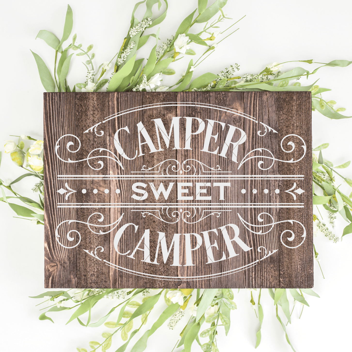 Victorian Style Camper Sweet Camper cuttable SVG File