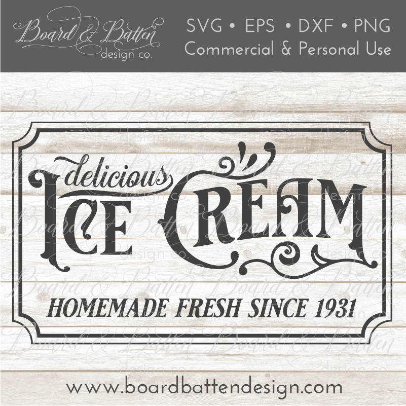 Delicious Ice Cream Vintage SVG File - Commercial Use SVG Files