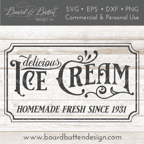 Delicious Ice Cream Vintage SVG File