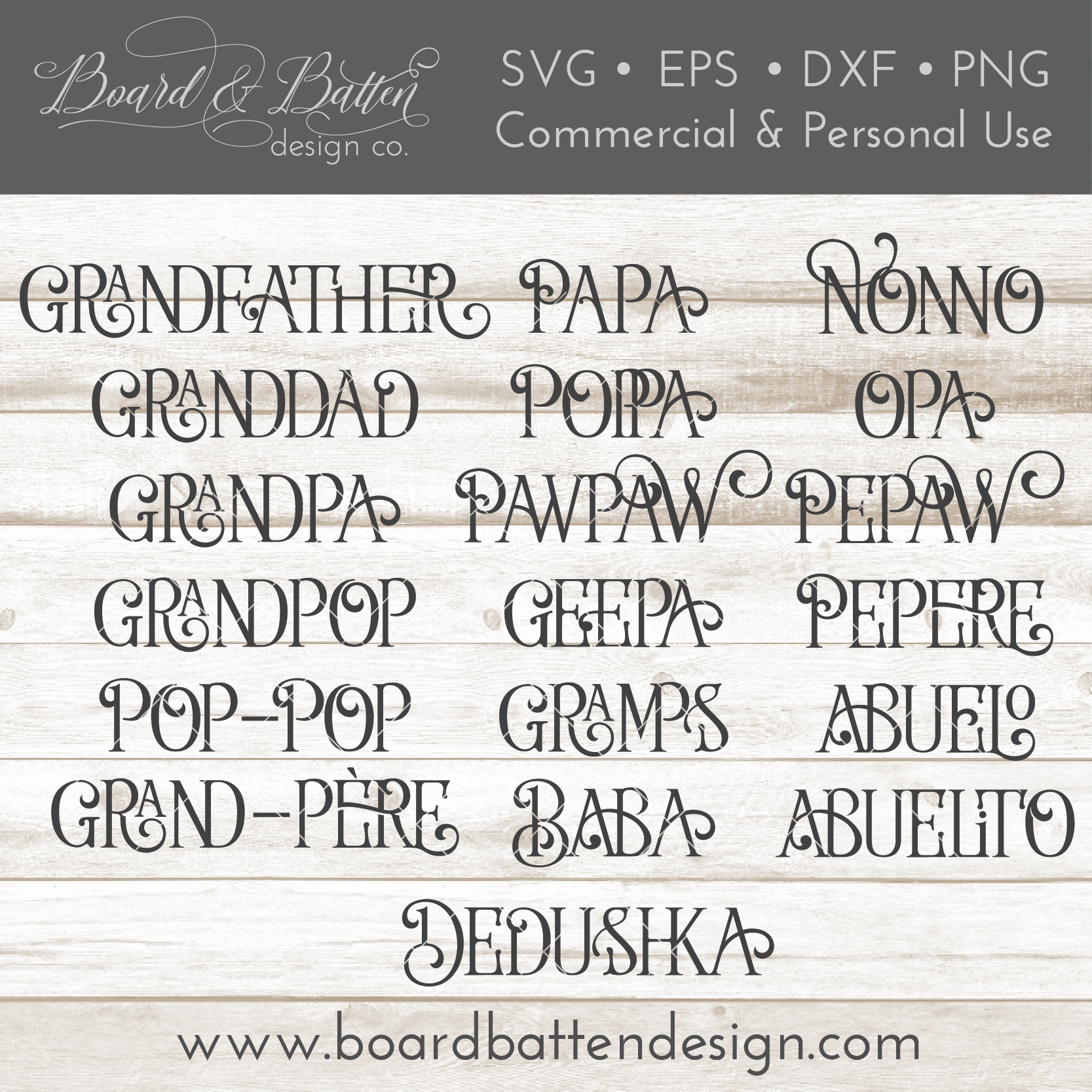 "Farmhouse Style set of words for ""Grandfather"" SVG File - Commercial Use SVG Files"