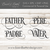 Father Padre Vater Pere SVG File - Father in 4 Languages - Commercial Use SVG Files