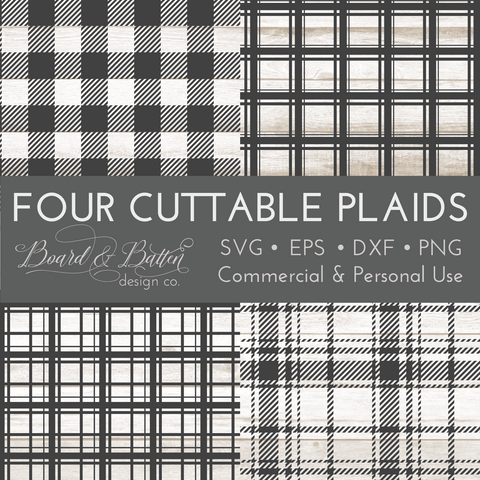 Set of 4 Cuttable Plaid SVG Files (Including Buffalo Check)