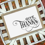 Flourished Give Thanks SVG File for Thanksgiving - Commercial Use SVG Files