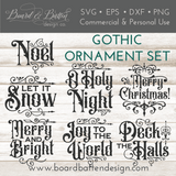 Gothic Christmas Ornament SVG File Bundle Set of 7 - Commercial Use SVG Files