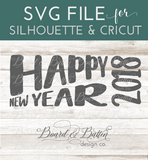Retro Happy New Year SVG File for 2018 - Commercial Use SVG Files