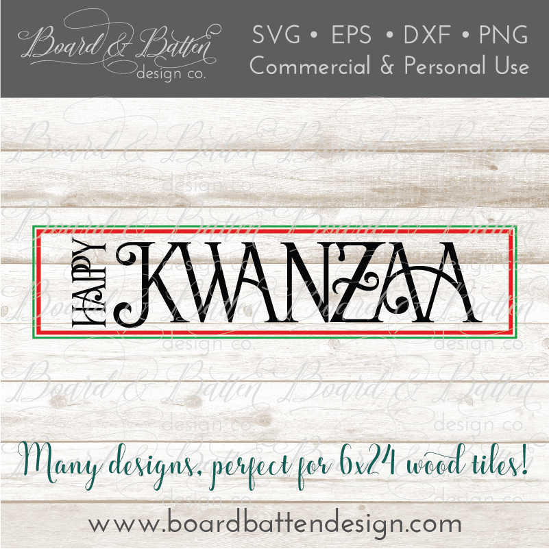 Happy Kwanzaa SVG File for Wood Tiles - Commercial Use SVG Files