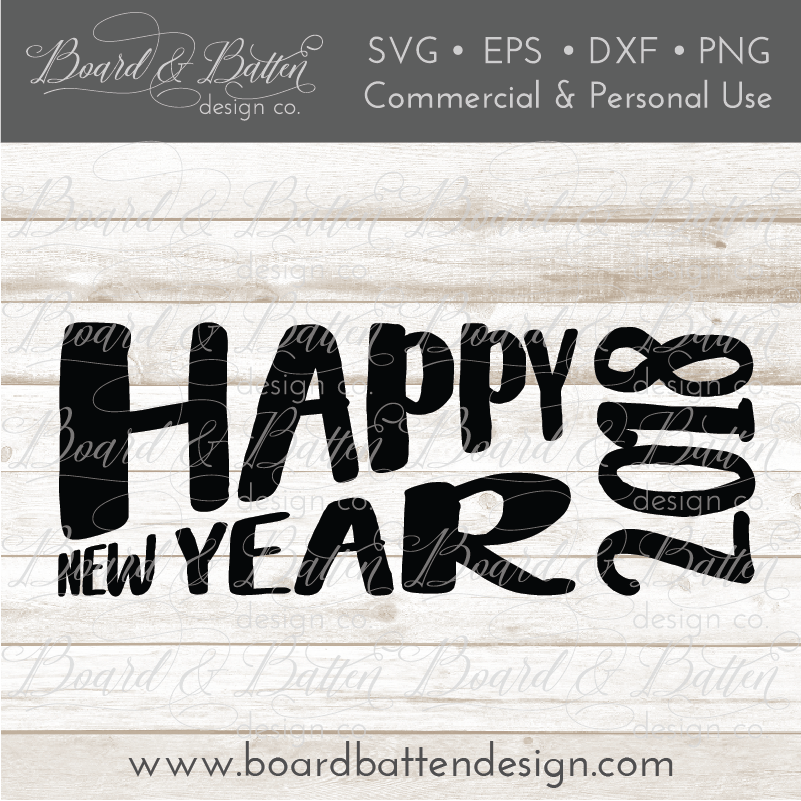 Retro Happy New Year SVG File for 2018