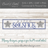 Happy Winter Solstice 6x24 SVG File for Wood Tiles - Commercial Use SVG Files