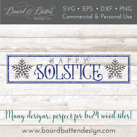 Happy Winter Solstice 6x24 SVG File for Wood Tiles