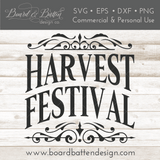 Harvest Festival SVG Cut File for Fall/Autumn