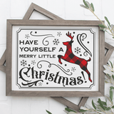 Vintage Have Yourself A Merry Little Christmas SVG File with Buffalo Plaid Deer - Commercial Use SVG Files