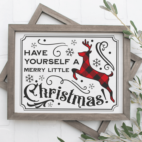 Vintage Have Yourself A Merry Little Christmas SVG File with Buffalo Plaid Deer