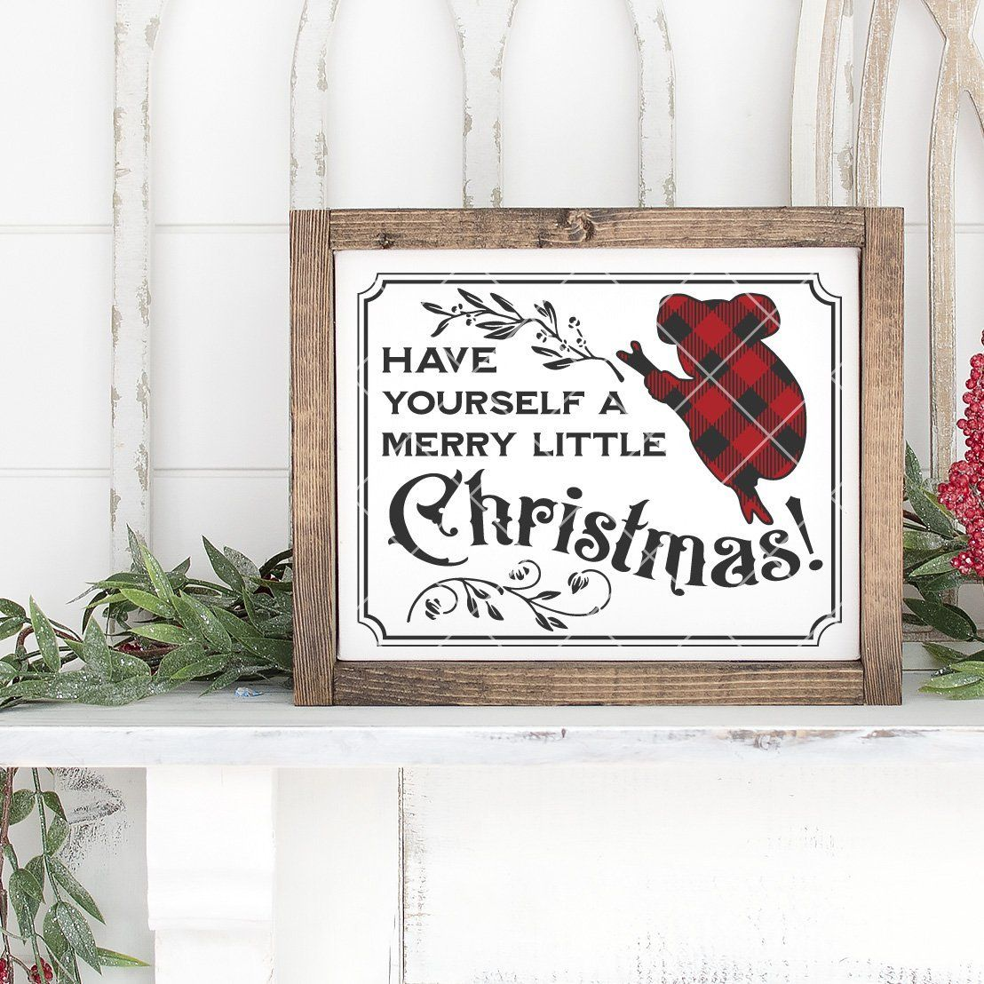 Vintage Have Yourself A Merry Little Christmas SVG File with Buffalo Plaid Koala - Commercial Use SVG Files