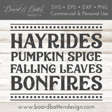 Fall/Autumn SVG File - Hayrides, Pumpkin Spice, Falling Leaves, Bonfires - Commercial Use SVG Files