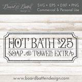 Vintage Hot Bath $.25 SVG File - Commercial Use SVG Files