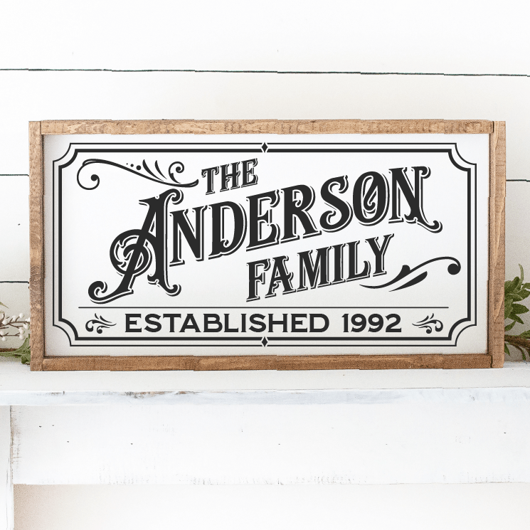Custom Vintage Gothic Last Name Family & Est Date SVG File - Commercial Use SVG Files