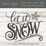 Vintage Sign Label Let It Snow SVG File - Commercial Use SVG Files