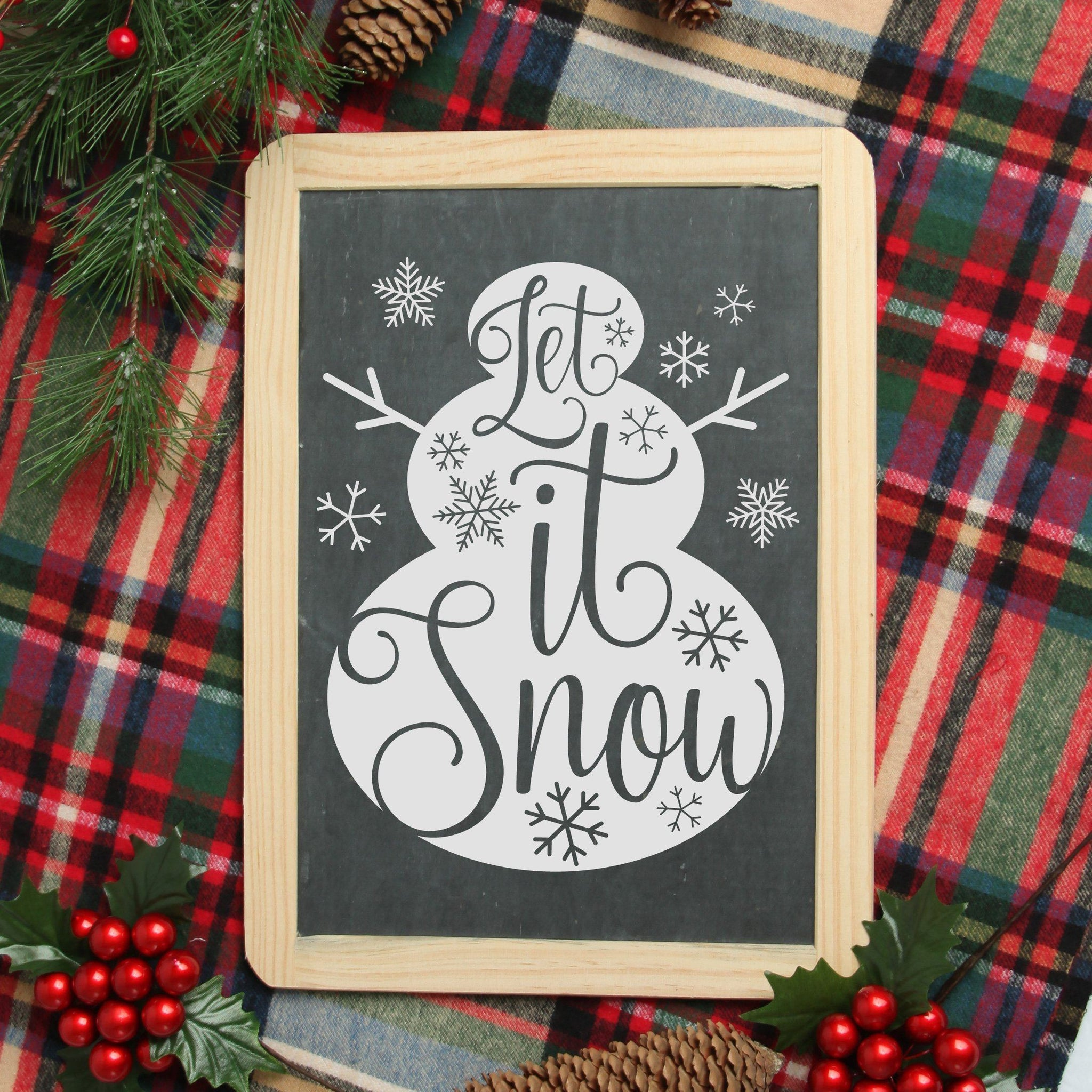 Let It Snow 8x10 Snowman SVG File - Commercial Use SVG Files