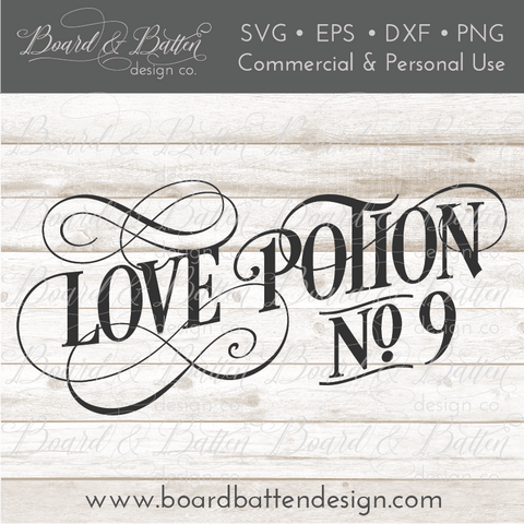Love Potion No 9 Vintage SVG