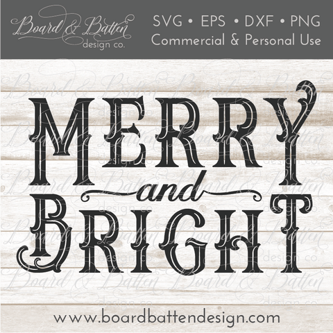 Vintage Sign Merry and Bright SVG File