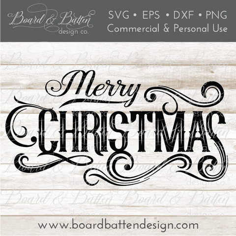 Vintage Label Merry Christmas SVG File