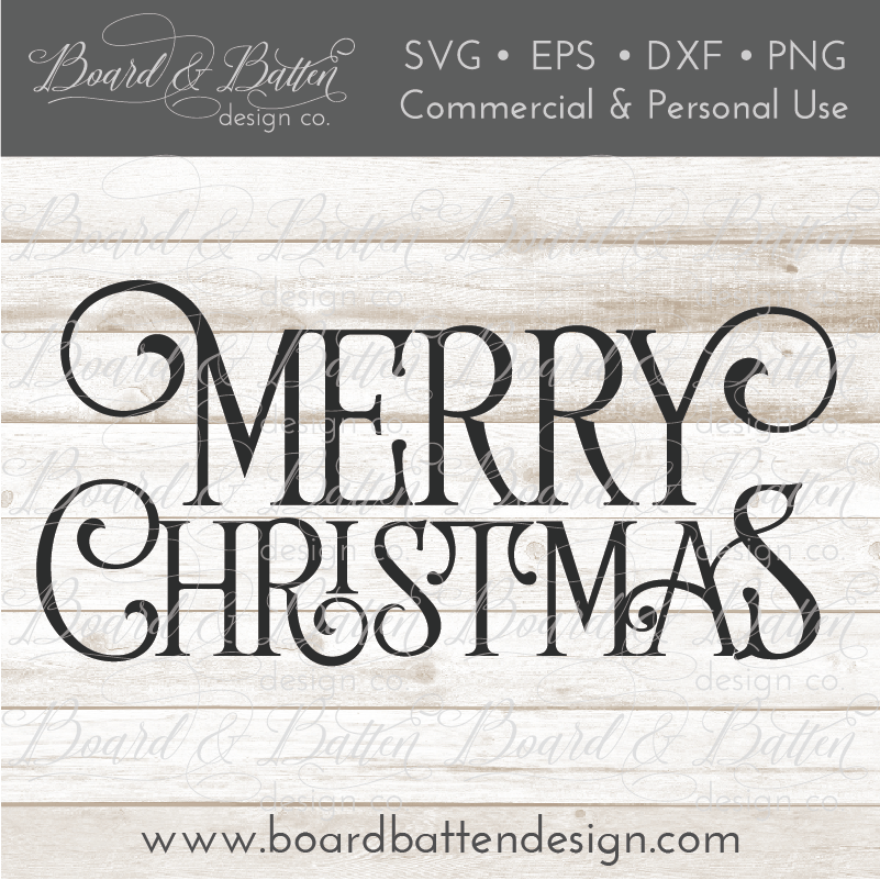 Farmhouse Style Merry Christmas SVG File - Commercial Use SVG Files