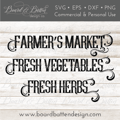 Farm Fresh Words Bundle SVG File - Farmers Market, Fresh Vegetables, and Fresh Herbs