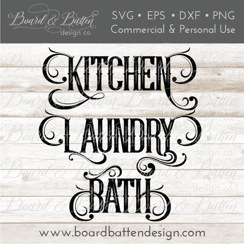Household Words Bundle - Kitchen, Laundry, Bath SVG File - Commercial Use SVG Files