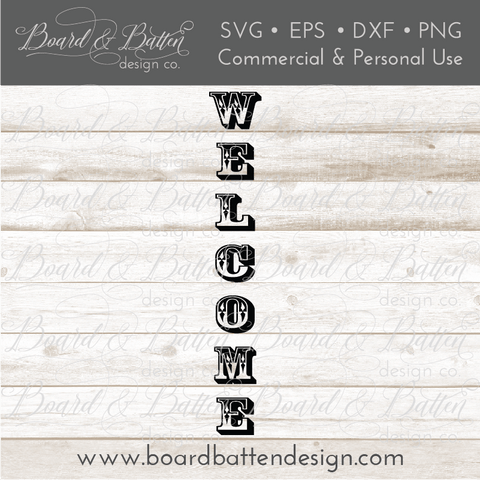 Welcome Vertical Plank SVG File