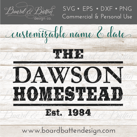 Western Homestead Customizable Est Date SVG File