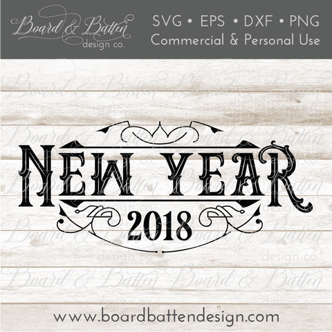 Vintage Style New Year 2018 SVG File