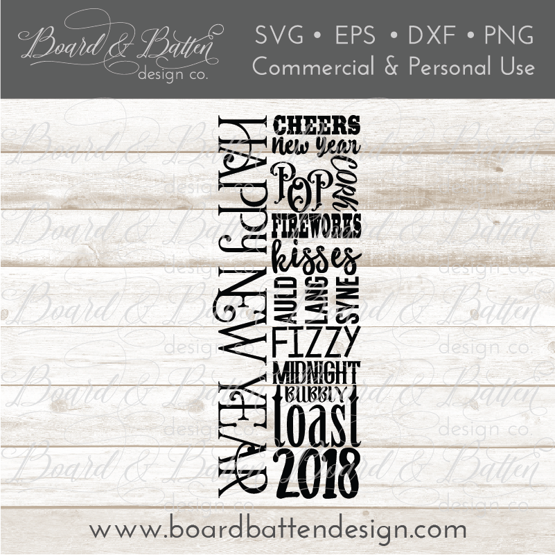 New Year Wine Bottle Subway Art SVG File - Commercial Use SVG Files