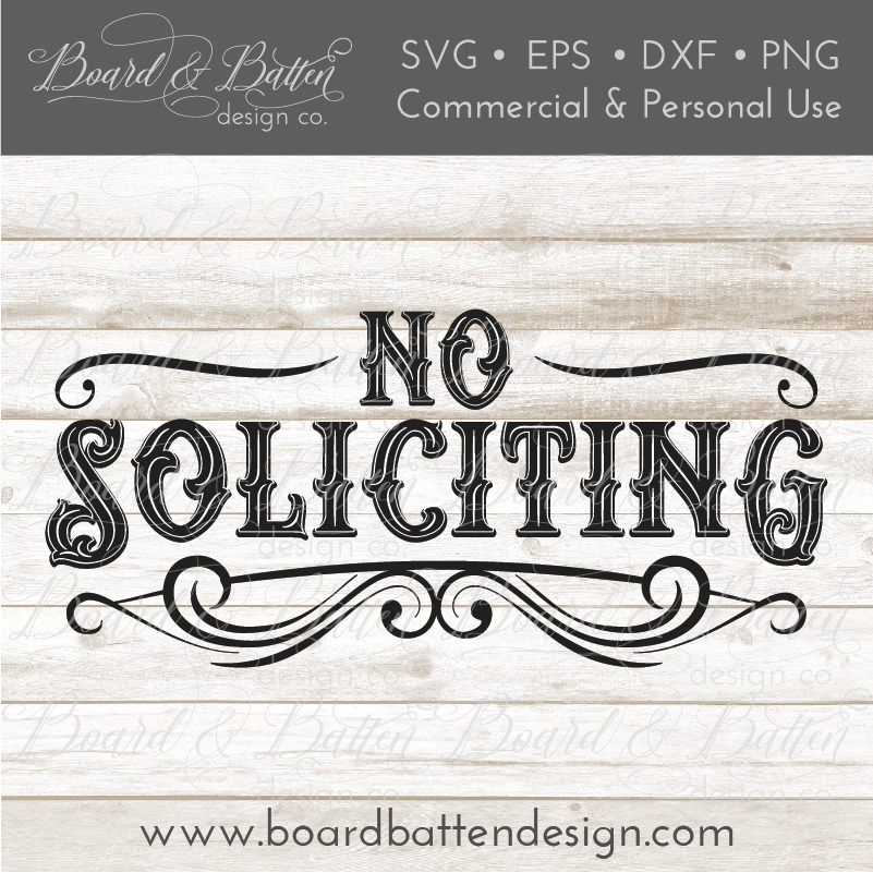 Vintage Style No Soliciting Sign SVG Cut File - Commercial Use SVG Files