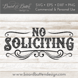 Vintage Style No Soliciting Sign SVG Cut File
