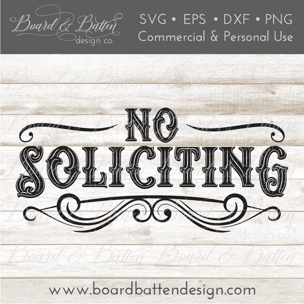 Vintage Style No Soliciting Sign Svg Cut File Board