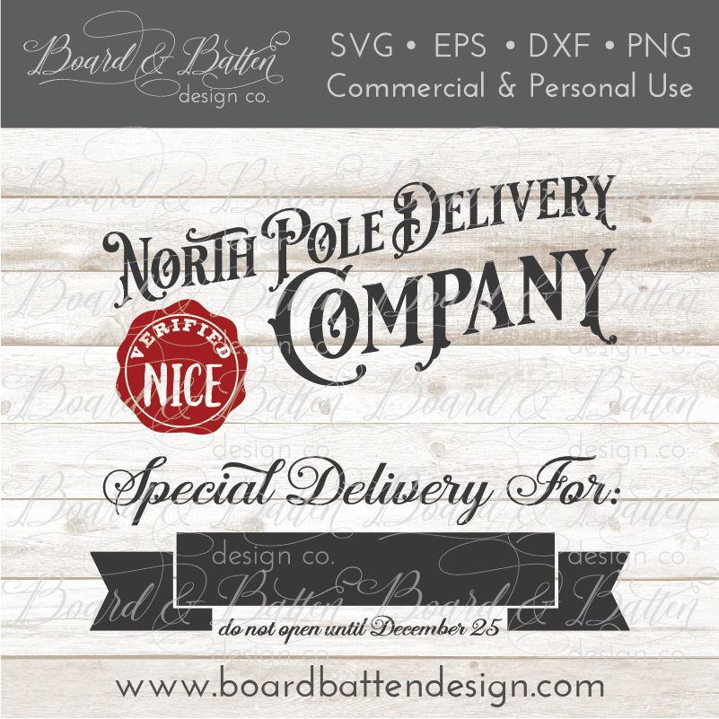 North Pole Delivery Company Customizable SVG File for Christmas Bags