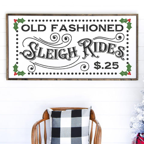 Old Fashioned Sleigh Rides Vintage SVG File