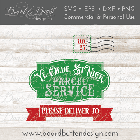 Olde St Nick Parcel Service SVG File for Christmas Bags