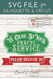 Olde St Nick Parcel Service SVG File for Christmas Bags - Commercial Use SVG Files