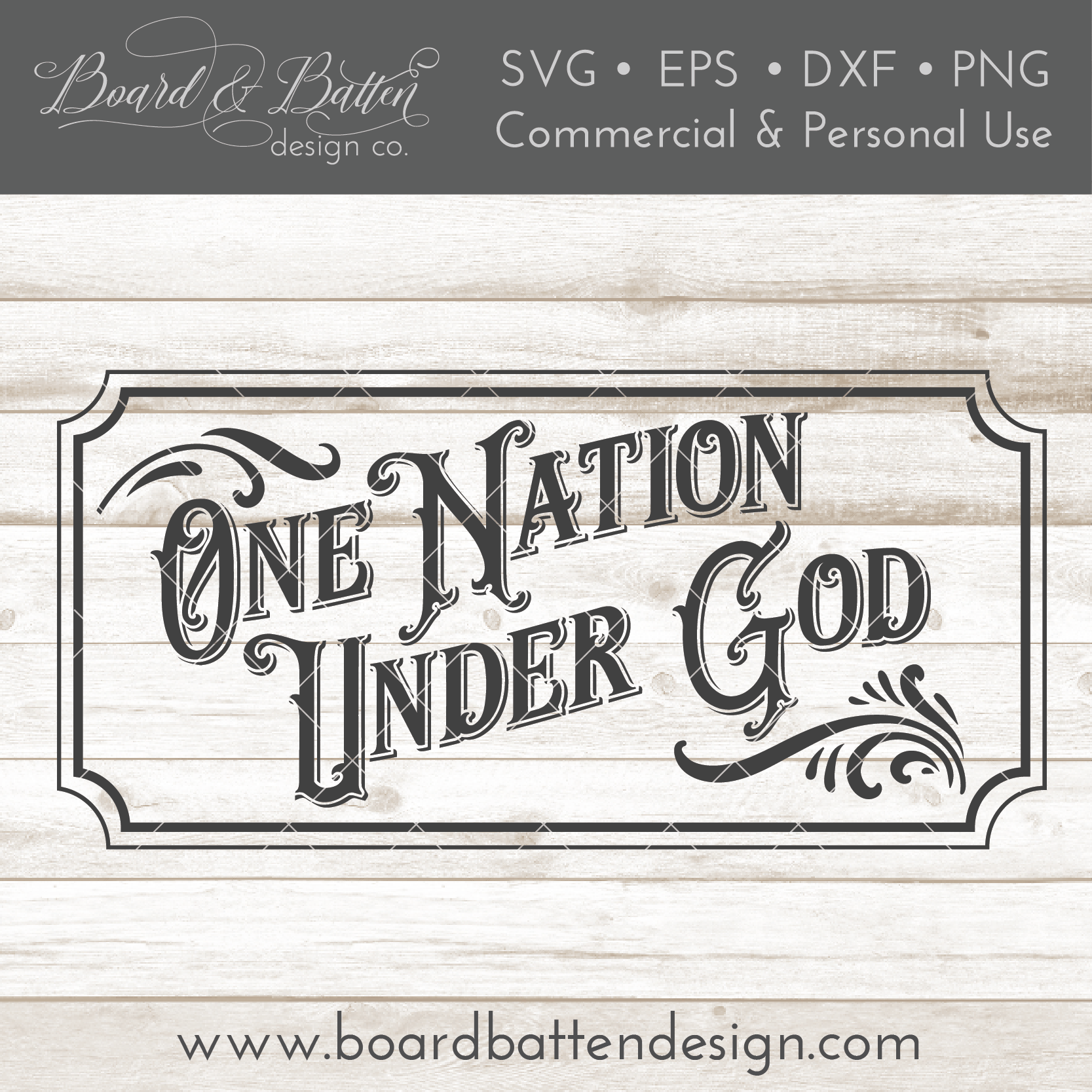 Vintage One Nation Under God SVG File - Commercial Use SVG Files