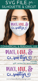 Peace, Love and Sanitizer SVG File for Face Masks