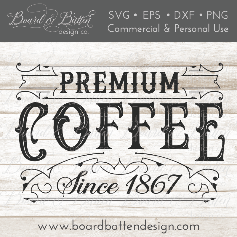 Premium Coffee Vintage Label SVG Cutting File - Commercial Use SVG Files