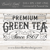 Premium Green Tea Vintage Label SVG Cutting File - Commercial Use SVG Files