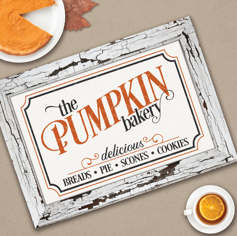 Vintage Pumpkin Bakery Sign SVG File - Commercial Use SVG Files