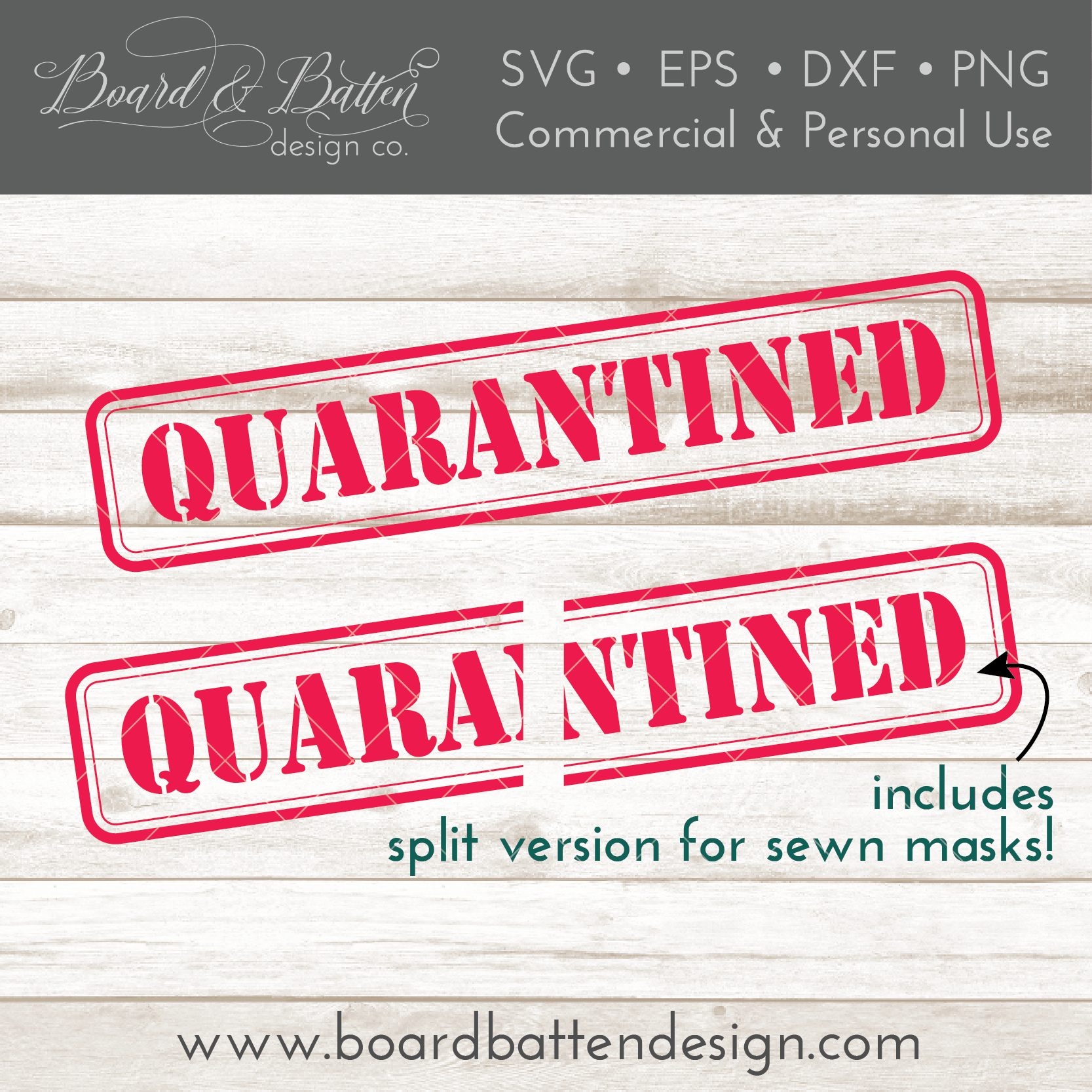 Quarantined Stencil style SVG File for Face Masks