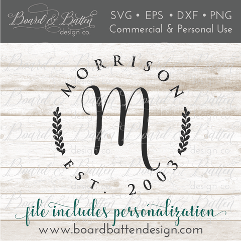 Personalized Round Monogram with Name & Est Date SVG
