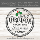 Round Personalizable Merry Christmas SVG File - Commercial Use SVG Files
