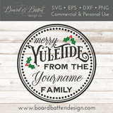 Round Personalizable Merry Yuletide SVG File - Commercial Use SVG Files