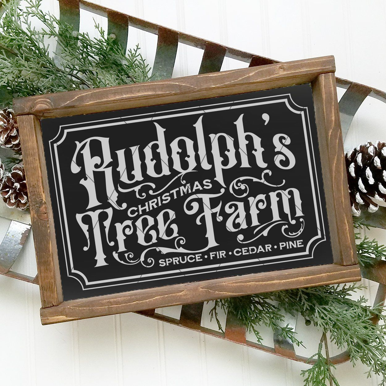 Rudolph's Christmas Tree Farm Vintage Christmas Farmhouse SVG File - Commercial Use SVG Files