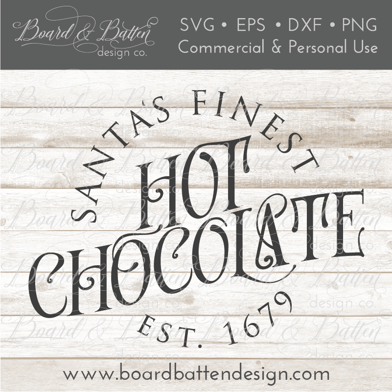 Santa's Finest Hot Chocolate Vintage Christmas SVG File - Commercial Use SVG Files